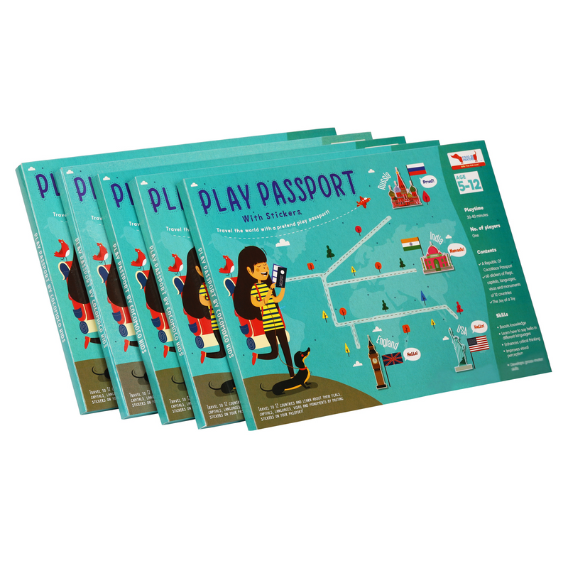 5 Pieces of Play Passport Activity Kit With Flags, Monuments, Capitals, Languages - Return Gift Combo