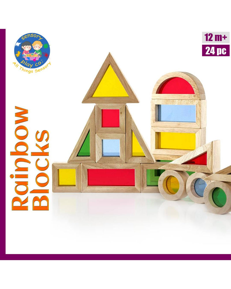 Rainbow Blocks (24 pcs) | Wooden Colorful Acrylic Blocks