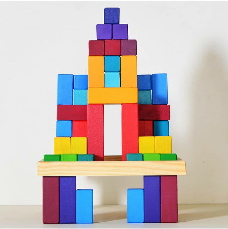 Large Stepped Pyramid of Wooden Building Blocks, 64 Piece Learning Set