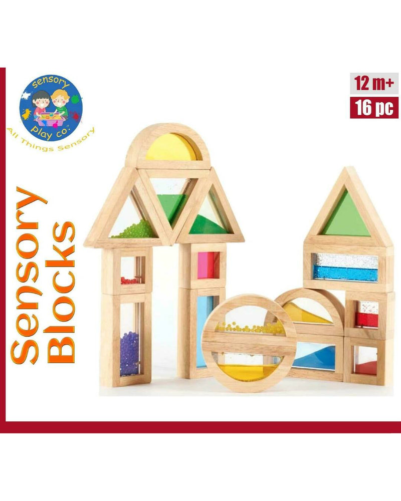 Sensory Blocks (16 pcs) – Wooden Large Blocks with Water, Beads, Sand Inserts