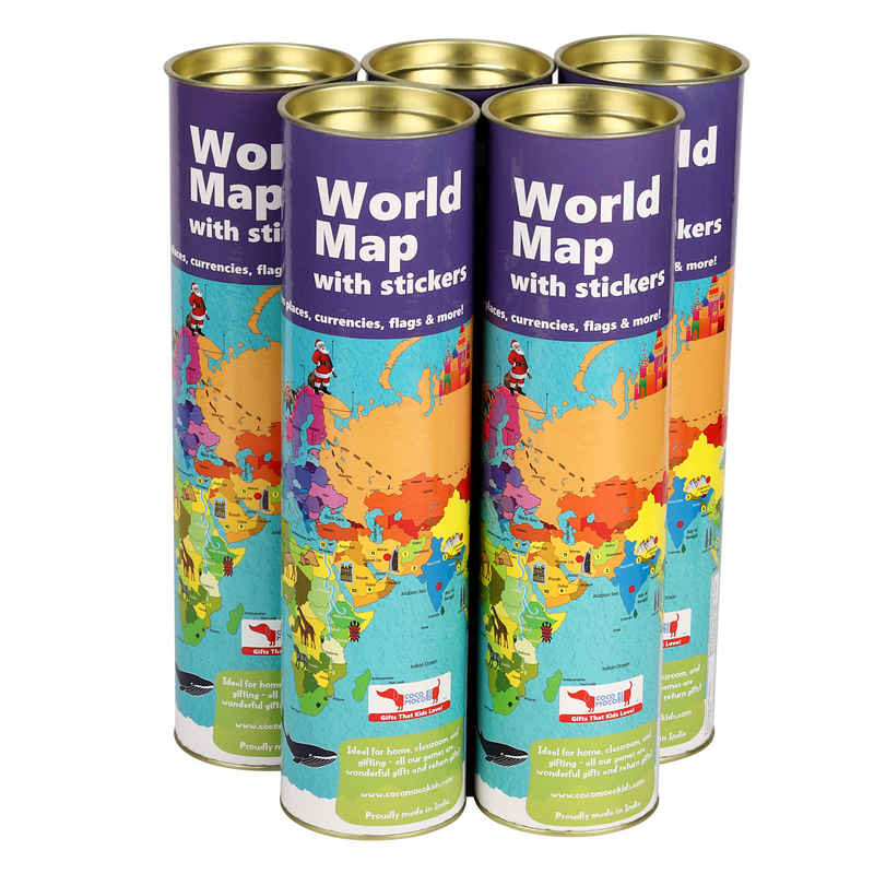 Combo Pack for Return Gifts - 5 Pieces of World Map Activity Kit with Reusable Stickers of flags, currencies & more