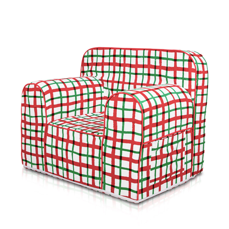 Kid's Comfy Sofa- Hand drawn check red and green