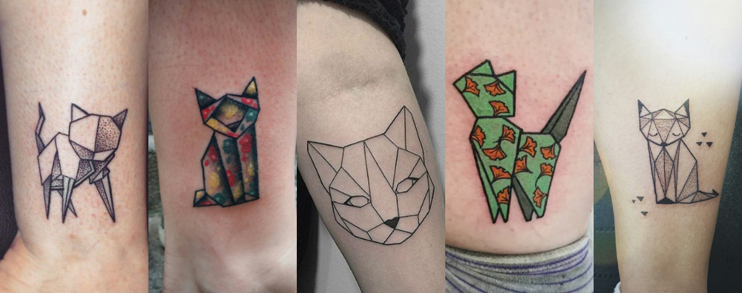 tatouage chat origami