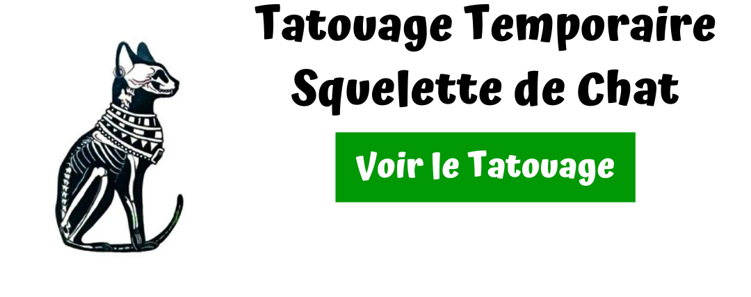 tatouage squelette de chat