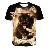 T-Shirt Chat Homme Riche