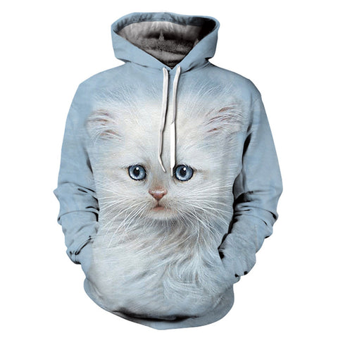 sweat chaton blanc homme