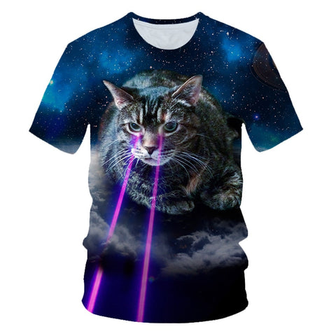 t-shirt chat homme laser
