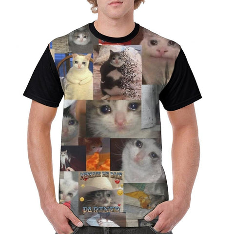 t shirt homme cat crying