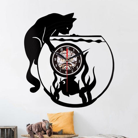 Horloge Chat Poisson