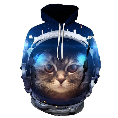 Sweat Homme Chat<br> Chat Astronaute