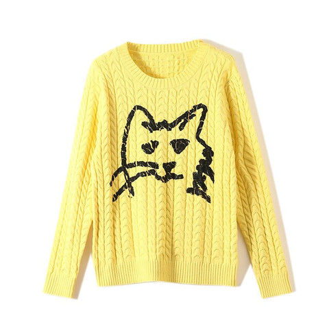Pull Femme Chat<br> Chat Dessiné