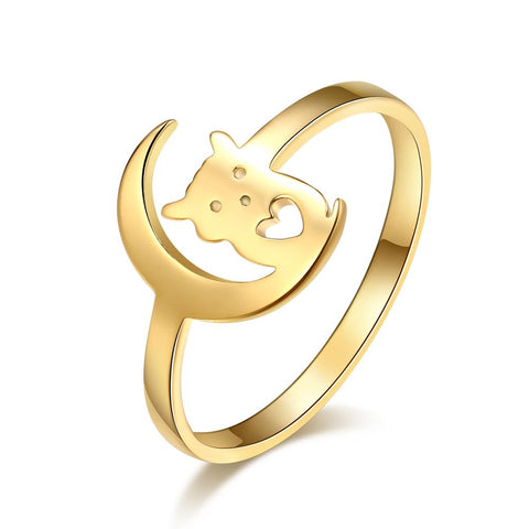 bague chat en or