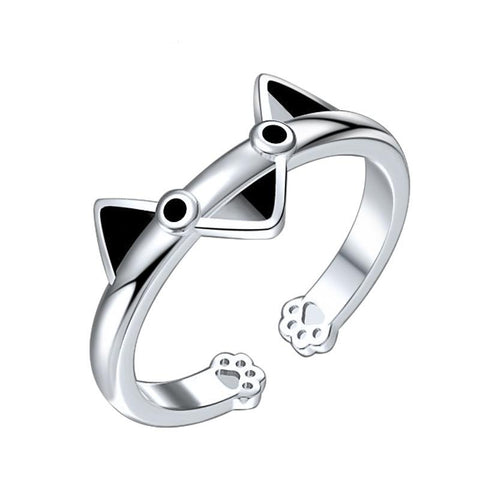 Bague Chat (Argent)<br> Triangles