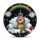 horloge chat arc en ciel