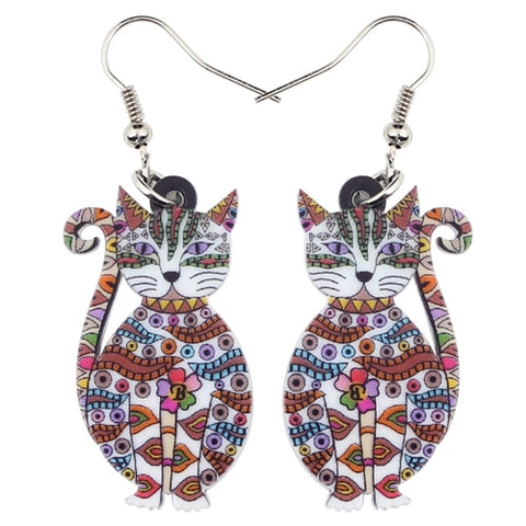 Boucles d oreilles chat multicolore