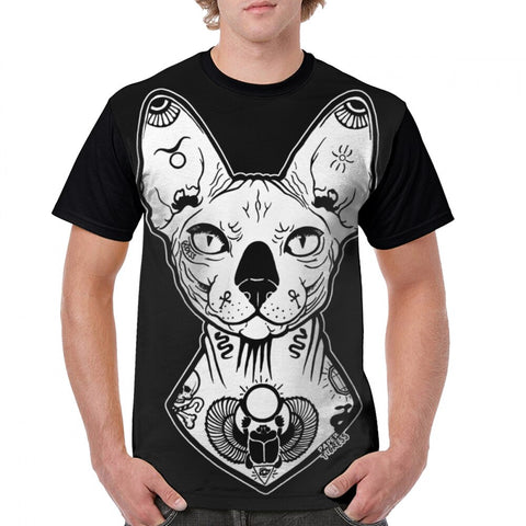 t-shirt chat homme sphynx