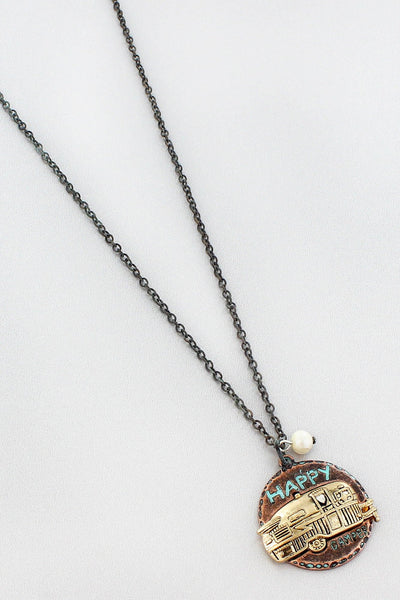 Patina and Burnished Goldtone Happy Camper Necklace