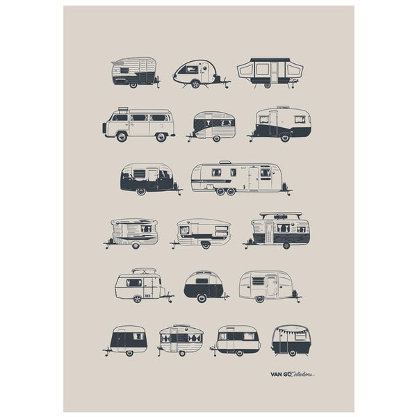Grey Caravans 100% Linen Tea Towel