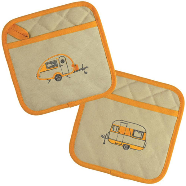Yellow T@B Teardrop Camper Embroidered Pot Holders