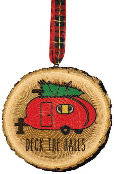 Deck the Halls Camper Wooden Disk Ornament