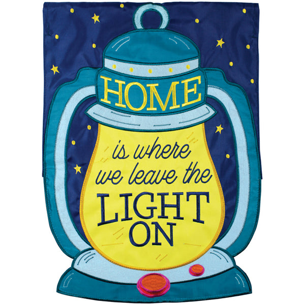 """Leave The Light On"" Double Applique Garden Flag"