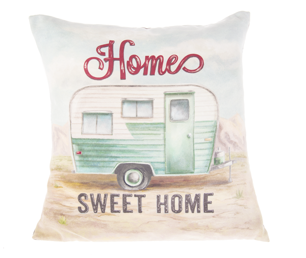 """Home Sweet Home"" Vintage Ride Trailer Pillow"