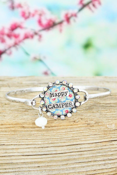 Iridescent Crystal Accented Burnished Silvertone Floral 'Happy Camper' Bracelet