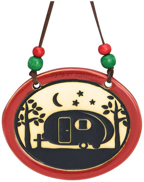 Pottery Disk Ornament with Camper