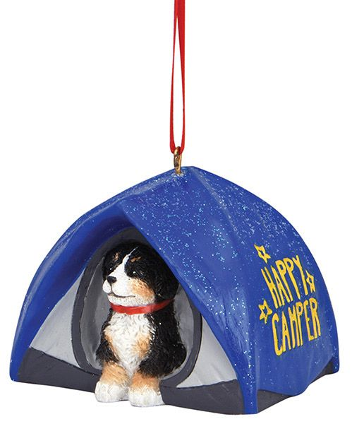 """Happy Camper"" Tent with Dog Resin Ornament"