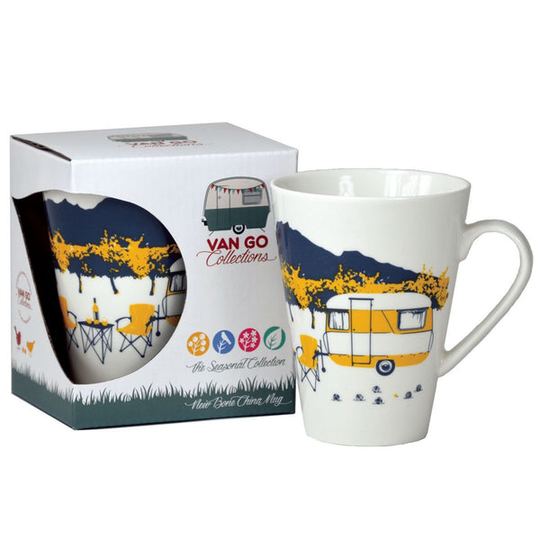 Yellow Retro Camper Bone China Mug