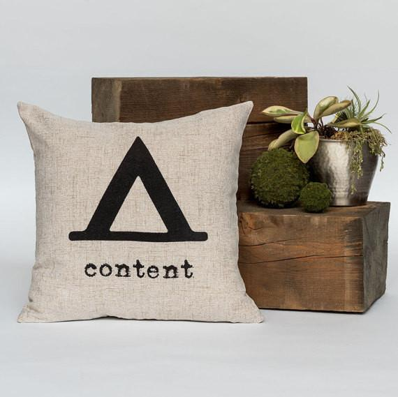 "Content 18"" x 18"" Throw Pillow"