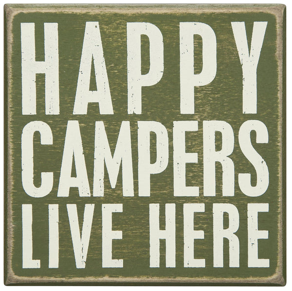 """Happy Campers Live Here"" Rustic Box Sign"