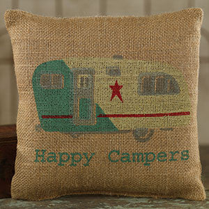 Happy Campers Burlap Pillow