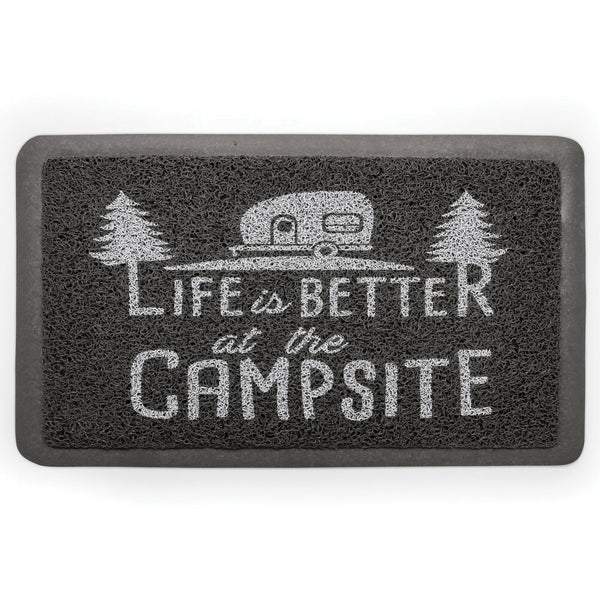 """Life is Better at the Campsite"" RV Welcome Mat"