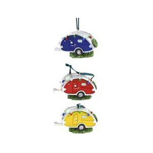 Mini Teardrop Trailer Ornament with Lights (Random Color)