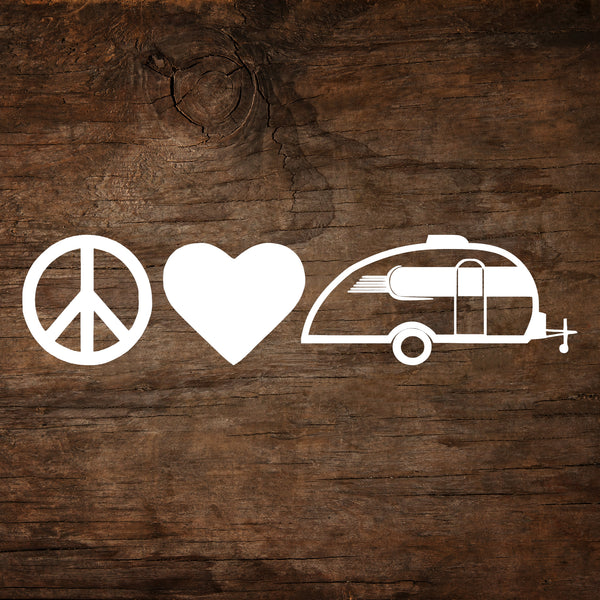 Peace, Love & Camping Little Guy Max Window Decal