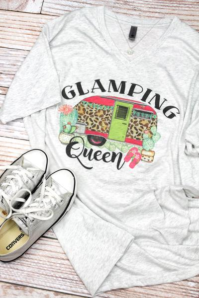 Glamping Queen Tri-Blend V Neck Tee