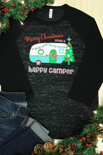 Happy Camper Christmas Uni-Sex 3/4 Sleeve Raglan
