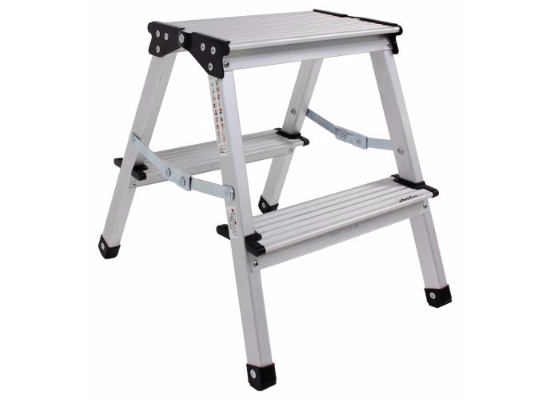 "Stromberg Carlson Folding Step Stool - Aluminum - 15-1/2"" Tall - 330 lbs"