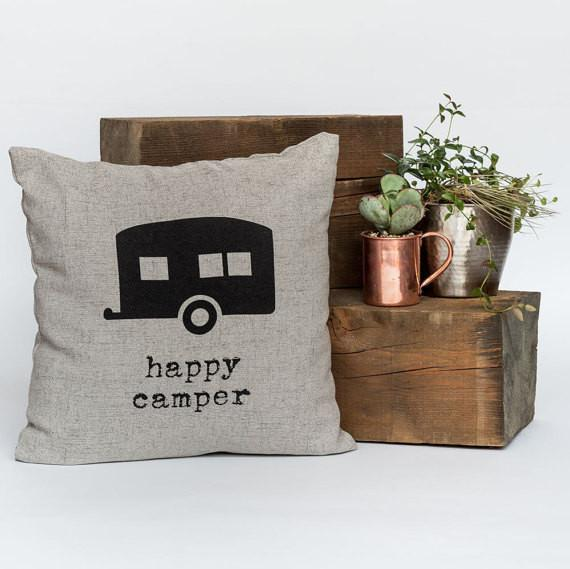 "Happy Camper 18"" x 18"" Throw Pillow"