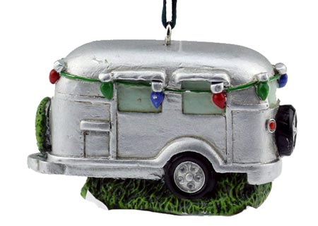 Silver Camper Ornament with Lights