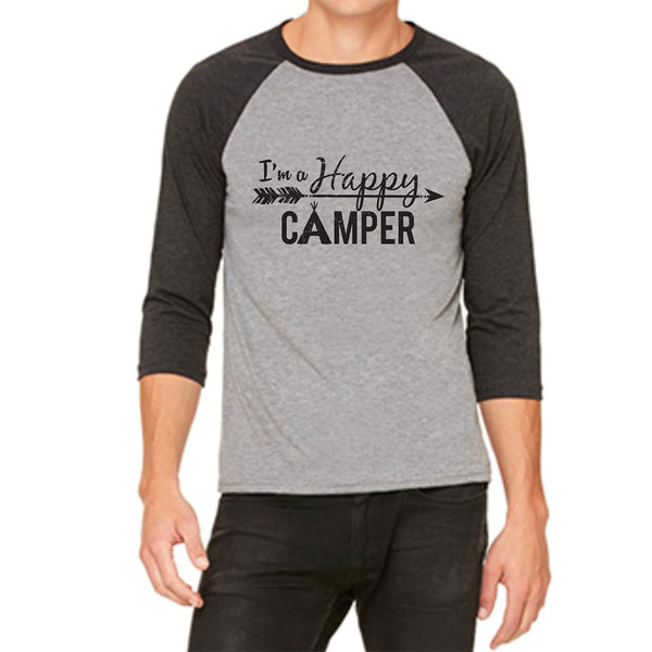 """I'm A Happy Camper"" Men's Raglan Sleeve T-Shirt"