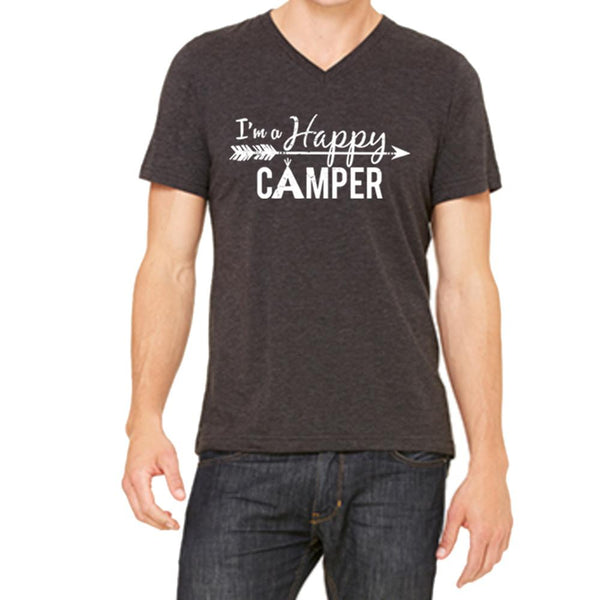 """I'm A Happy Camper"" Men's V-Neck Short Sleeve Shirt"