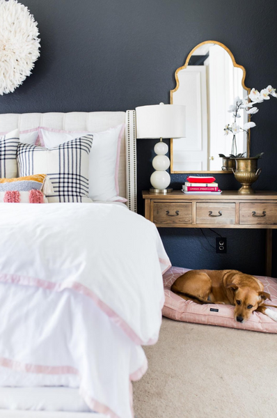 Janery Morganite Charlie Cushion in Master Bedroom of Cassie at Hi Sugarplum