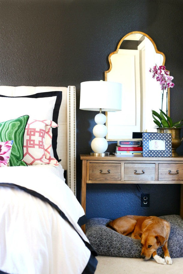 Janery Charlie Cushion Navy Herringbone HiSugarplum Master Bedroom