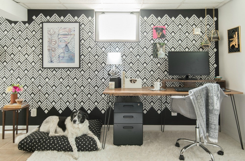 Janery One Room Challenge Black and White Office Reveal