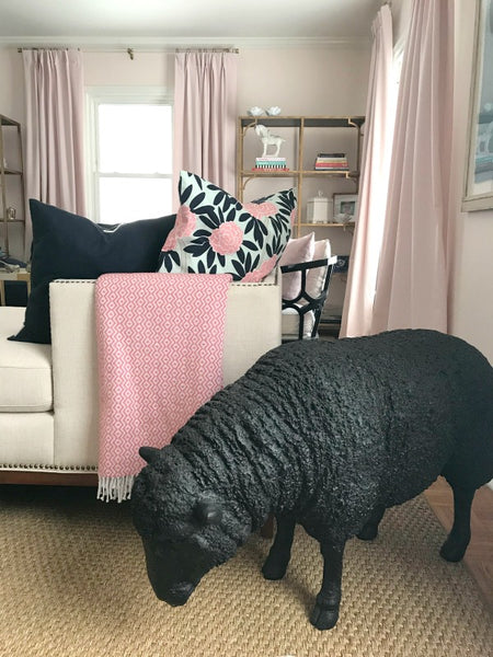 Janery_Pet_Decorating_Tips_Blush_Pink_Living_Room_Small_Chic_Home_Sheep_Statue