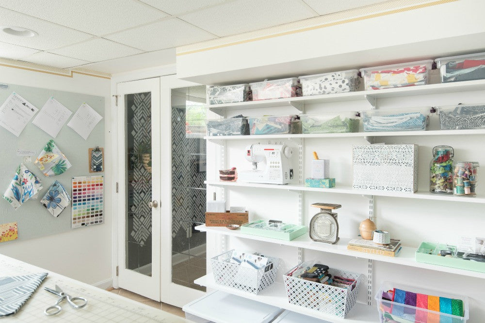 Janery Sewing Studio One Room Challenge Wall Storage Elfa Shelves