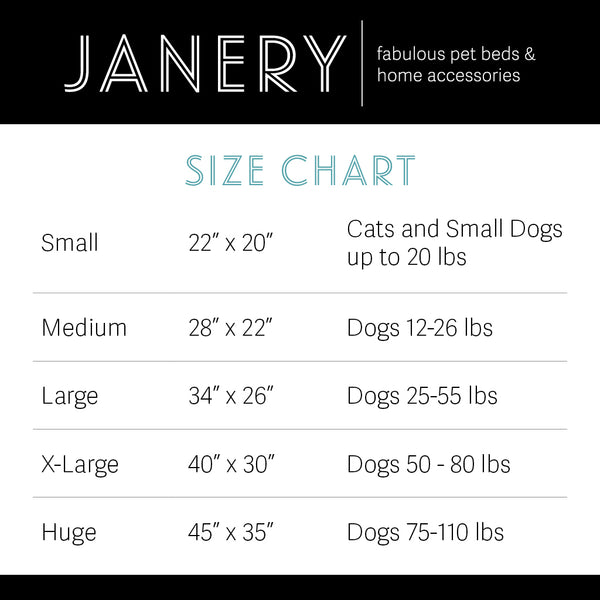 Janery Dog Bed Size Chart Find The Right Size Bed for your Dog