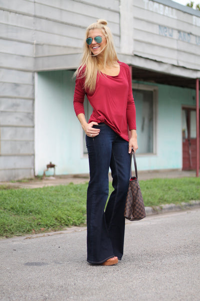 Crew Neck Piko Top- Burgundy